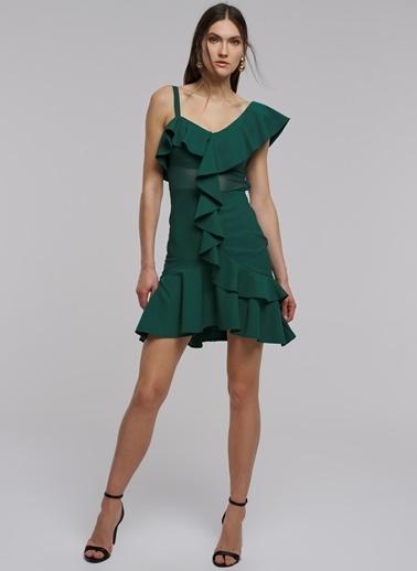 People By Fabrika Volan Detaylı Mini Elbise Yeşil